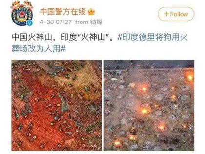 La imagen compara la construcción del hospital que atendió la emergencia del COVID en Wuhan, a la izquierda, con la crema de restos de fallecidos por coronavirus en India