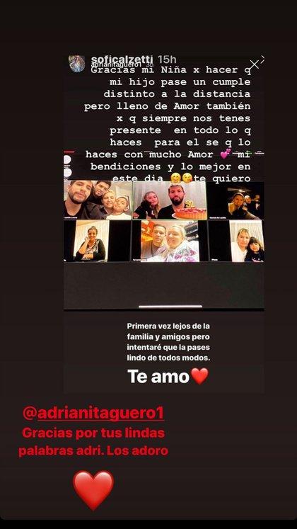 El mensaje de la madre del Kun a Sofía (Instagram)