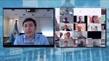 Daniel Arroyo, durante la teleconferencia con diputados