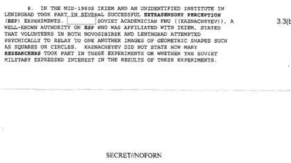 """El memo de la CIA presentó Kaznacheev como """"una autoridad reconocida en percepción extrasensorial"""""""