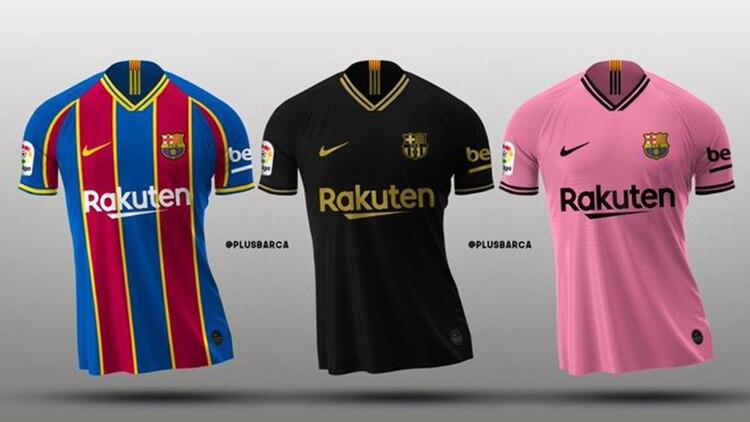 Las que serían las tres equipaciones del Barcelona para la próxima temporada (@plusbarca_)