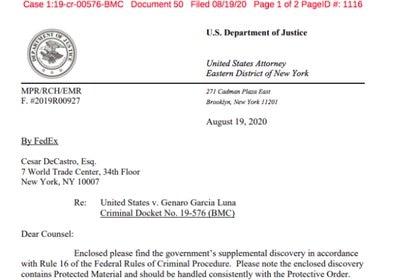 La moción presentada por la fiscalía estadounidense donde informa sobre las grabaciones interceptadas a García Luna  (Vía Río Doce/Miguel Ángel Vega)