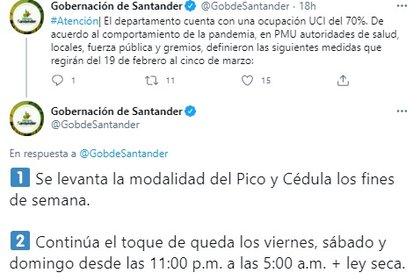 Levantan el pico y cédula en Santander. Foto: Twitter Gobernación de Santander.