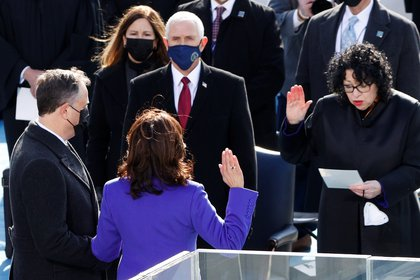 Kamala Harris is sworn in as U.S. Vice President during the inauguration of Joe Biden as the 46th President of the United States on the West Front of the U.S. Capitol in Washington, U.S., January 20, 2021. REUTERS/Brendan Mcdermid