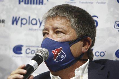 """Hernán Darío """"el Bolillo"""" Gómez habla como nuevo entrenador del Deportivo Independiente Medellín (DIM), en Medellín (Colombia). EFE/Luis Eduardo Noriega A"""