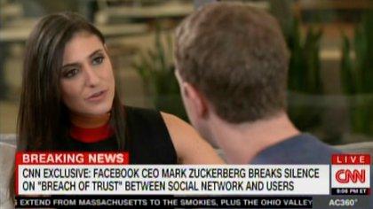 Laurie Segall, la experta en tecnología de CNN con Zuckerberg.