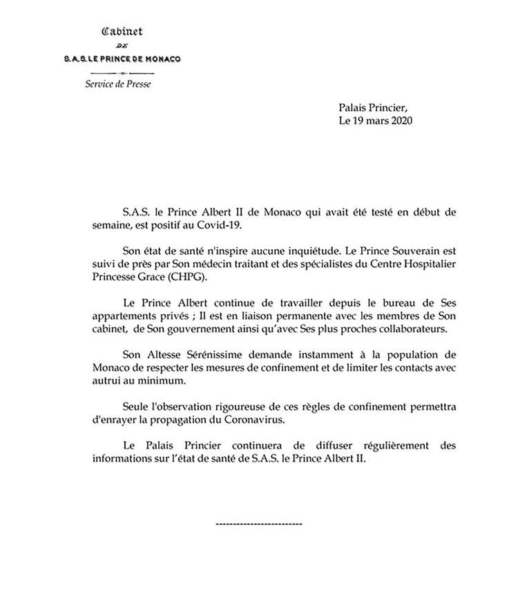 El comunicado del Palacio de Mónaco confirmando que el príncipe Alberto de Mónaco contrajo coronavirus