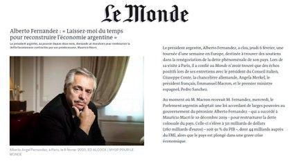 El presidente argentino concedió una entrevista al diario francés Le Monde al concluir su gira europea en París