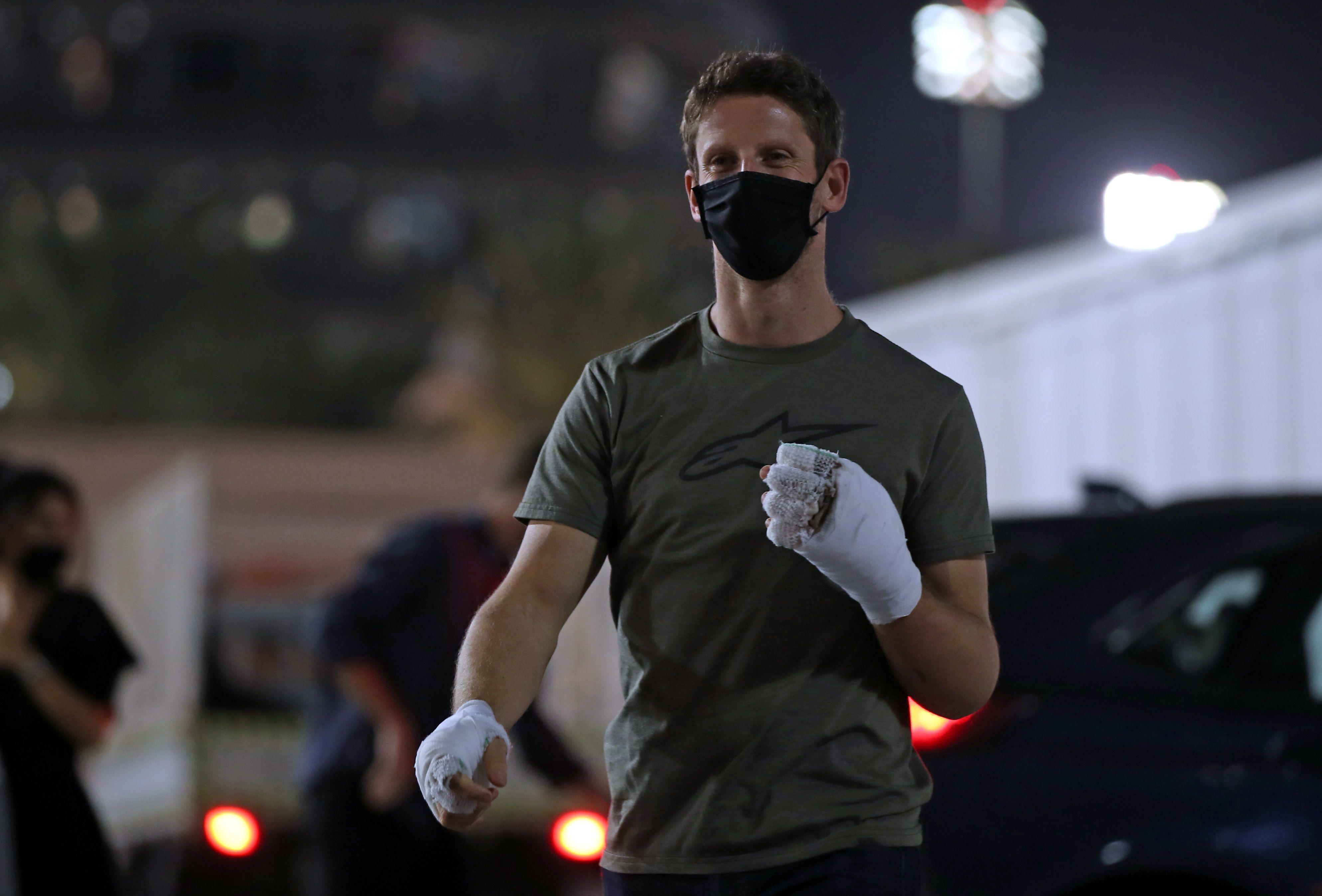 Grosjean había visitado el paddock de la Fórmula 1 tras su accidente (Foto: EFE)