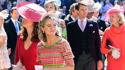 Cressida Bonas arrives for the wedding ceremony of Britain's Prince Harry, Duke of Sussex and US actress Meghan Markle at St George's Chapel, Windsor Castle, in Windsor, on May 19, 2018. / AFP PHOTO / POOL / Ian West