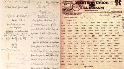 El telegrama Zimmermann en su versión escrita y cifrada (créditos: Archivo del Ministerio de Relaciones Exteriores de Alemania en Berlín)