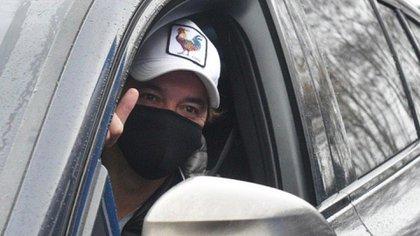 Marcelo Gallardo, el primero en llegar para hacerse el hisopado (@RiverPlate)