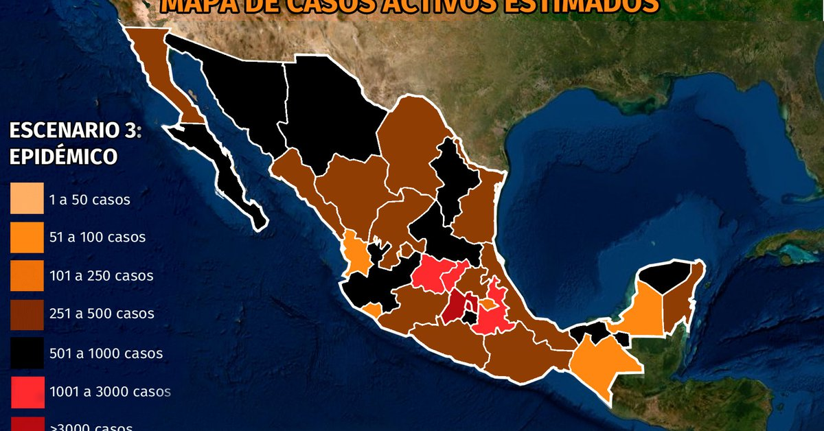 Map of Coronavirus in Mexico April 4