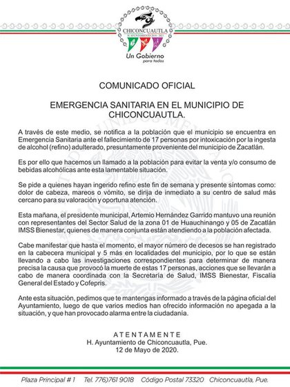 Las autoridades de Chiconcuautla, Puebla, emitieron un comunicado confirmado los decesos (Foto: Cortesía)