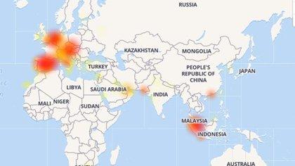 Las principales zonas afectadas (Downdetector.org)