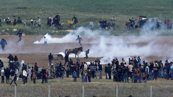 Marchas y violentas manifestaciones de palestinos impulsadas por el grupo terrorista Hamas en la frontera de Gaza con Israel