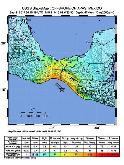 El Servicio Geológico de los EEUU midió la intensidad del terremoto del 7 de septiembre de 2017.