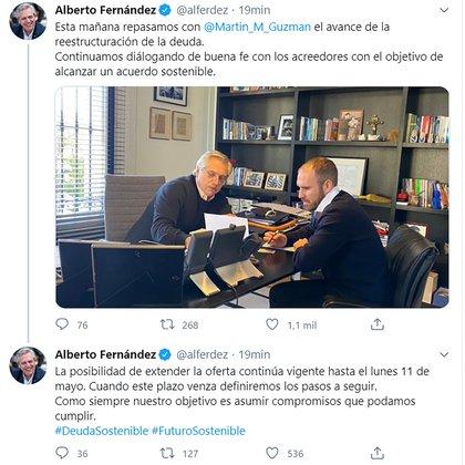 """Alberto Fernández utilizó su cuenta en Twitter para ratificar su estrategia en la deuda externa y de hecho ratificar a Martín Guzmán como negociador """"único"""" ante los bonistas"""