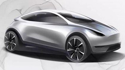 El render que trascendió sobre el posible diseño del nuevo Tesla compacto.