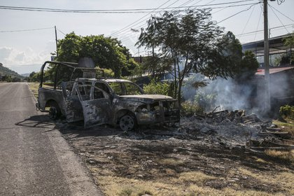 En Aguililla, Michoacán perdieron la vida 13 policías al ser emboscados por el CJNG (Foto: Cuartoscuro)
