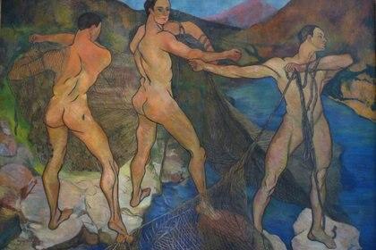 """""""Lanzando la red"""" (1914) es una de pintura de Suzanne Valadon, una de las primeras que se animó a pintar desnudos masculinos"""