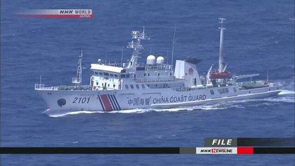 Patrullera china cerca de las islas Senkaku/Diaoyu que reclaman para sí tanto China como Japón (NHK)