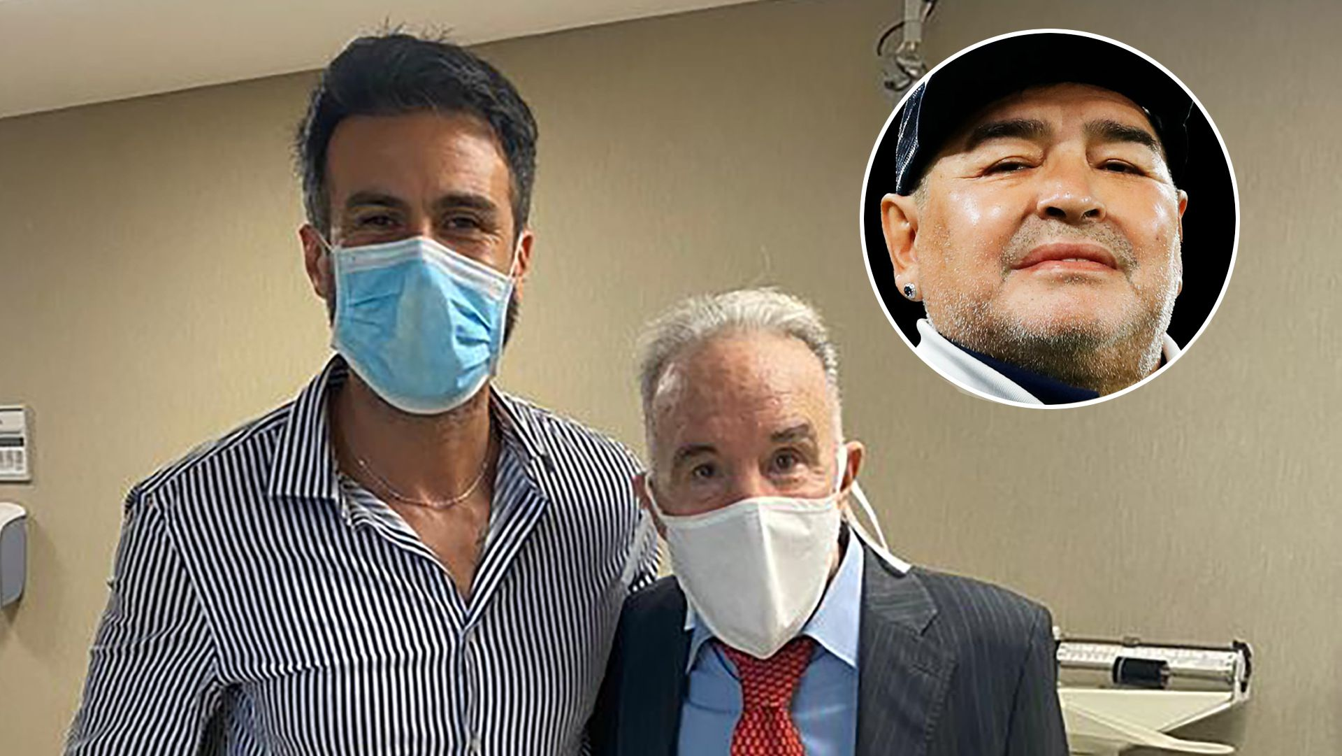 Alfredo Cahe, ex médico de Maradona, y Leopoldo Luque, el actual