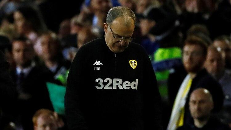 Marcelo Bielsa, entrenador del Leeds United, durante el encuentro ante el Derby County (Reuters)
