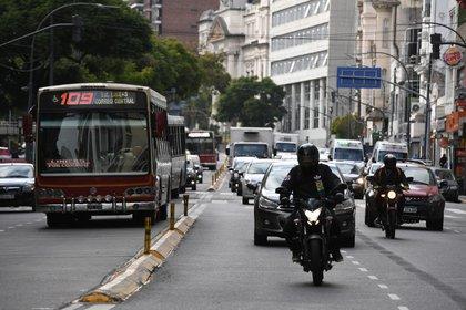 Las calles porteñas registraron una notoria suba en la circulación vehicular.
