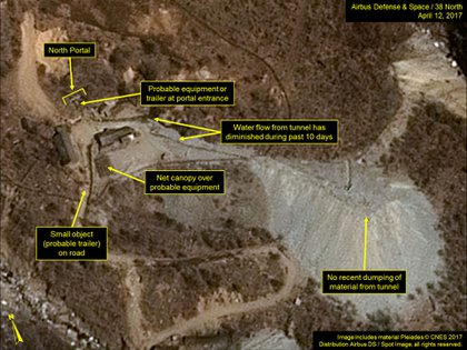 Una imagen satelitale del complejo de pruebas en Punggye-ri (AFP)