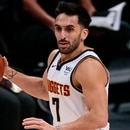 Jan 19, 2021; Denver, Colorado, USA; Denver Nuggets guard Facundo Campazzo (7) dribbles the ball up court against the Oklahoma City Thunder in the second quarter at Ball Arena. Mandatory Credit: Isaiah J. Downing-USA TODAY Sports