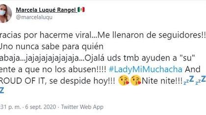 Mientras el partido aseguraba que esas conductas no son representativas, Marcela Luqué Rangel continuó reafirmando su postura (Foto: Twitter / @marcelaluqu)