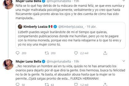 Los tuits de Mujer Luna Bella dedicados a Kimberly Loaiza