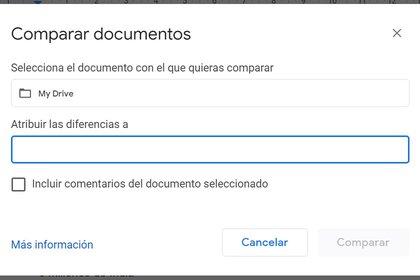 Comparar documentos es una de las herramientas disponibles en Docs