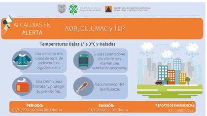 Alerta Naranja por bajas temperaturas en la CDMX (Foto: Protección Civil)