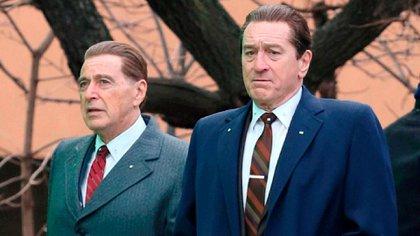 """Al Pacino como Jimmy Hoffa y Robert De Niro como """"El irlándés"""" (Netflix)"""