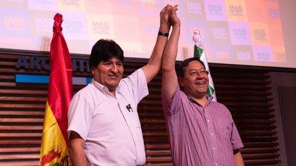 El expresidente boliviano Evo Morales y el candidato presidencial del MAS, Luis Arce POLITICA SUDAMÉRICA BOLIVIA INTERNACIONAL TWITTER DE EVO MORALES