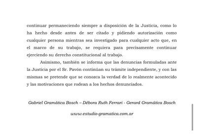 El comunicado del Estudio Gramática, que defiende a Cristian Pavón (@arevalo_martin)