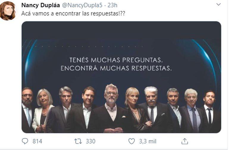 Tuit de Nancy Dupláa cuestionando a Animales sueltos