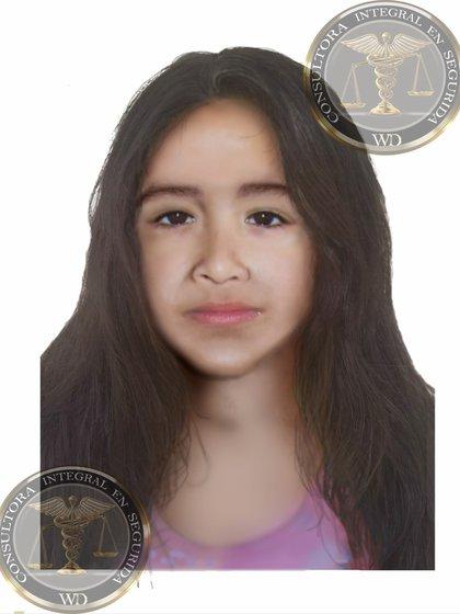 La proyección anterior del rostro de Sofía.