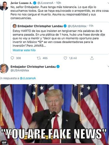 Así fue la respuesta de Landau tras el mensaje de Javier Lozano. (Foto: Captura de pantalla)