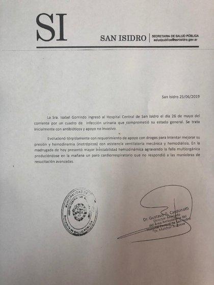 El parte médico que difundió la dirección del Hospital de San Isidro