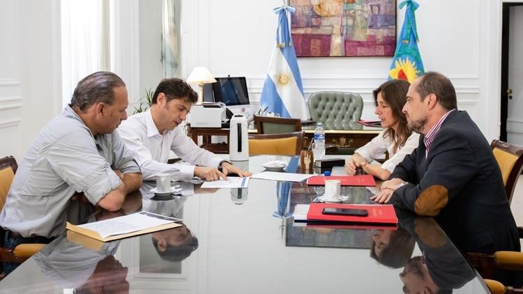 Axel Kicillof, Sergio Berni y Sabrina Frederic durante una reunión ordenada por Alberto Fernández para apaciguar las internas de seguridad entre ambos ministros del área
