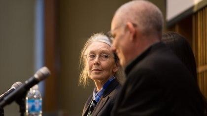 Anne Carson en el FILBA, junto con David Leavitt (Rodrigo Ruiz Ciancia)