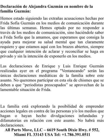 El comunicado de Alejandra Guzmán