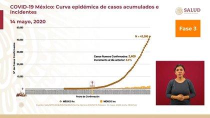 Curva epidémica de casos acumulados e incidentes en México al 14 de mayo (Foto: SSA)