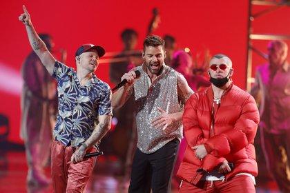 Residente, Ricky Martin y Bad Bunny. REUTERS/Steve Marcus