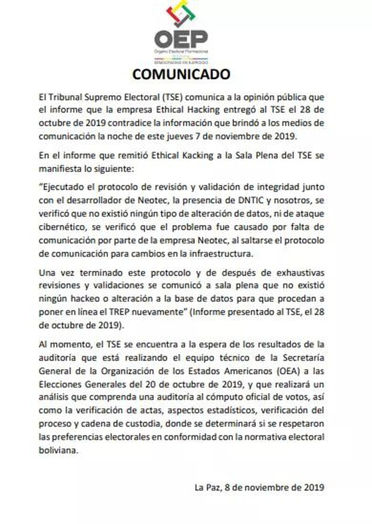 El descargo del TSE boliviano