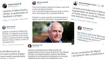 Alberto Fernández, Cristina Kirchner, Mauricio Macri, Horacio Rodríguez Larreta y otros políticos despidieron a Miguel Lifschitz en las redes