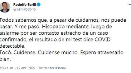 El mensaje de Rodolfo Barili en su cuenta de Twitter